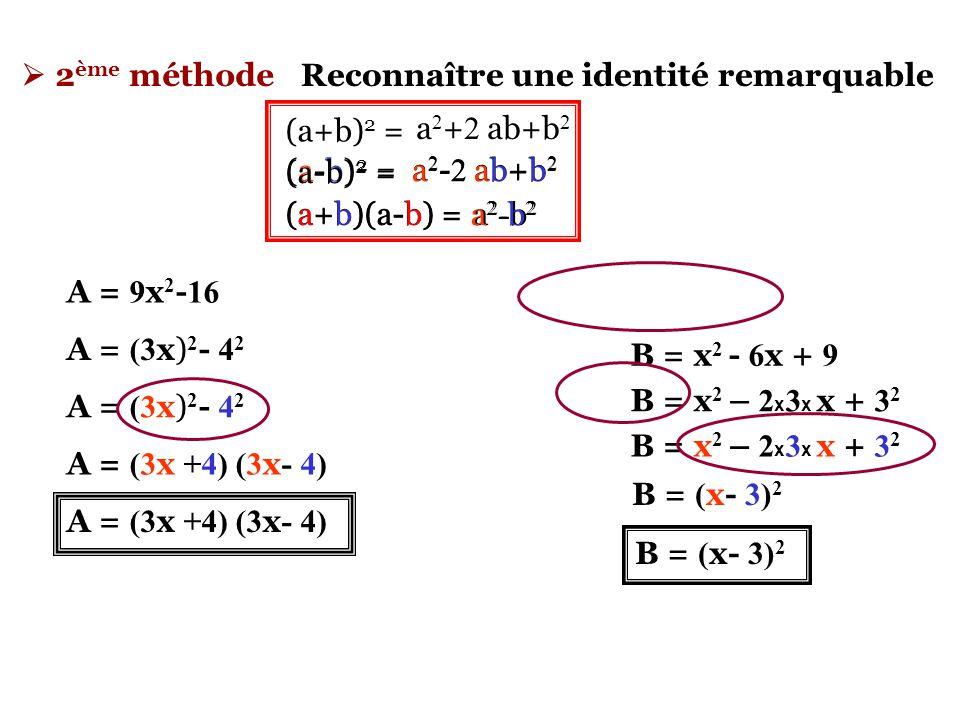  2ème méthode Reconnaître une identité remarquable. (a+b)2 = (a-b)2 = (a+b)(a-b) = a2+2 ab+b2.