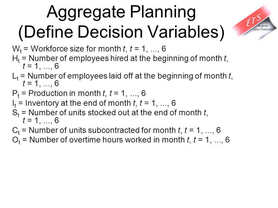 Aggregate Planning (Define Decision Variables)