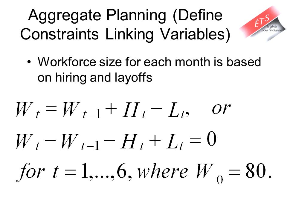Aggregate Planning (Define Constraints Linking Variables)