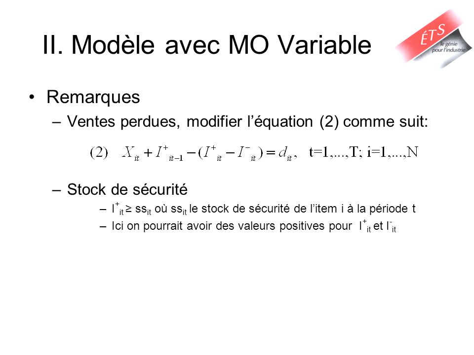II. Modèle avec MO Variable