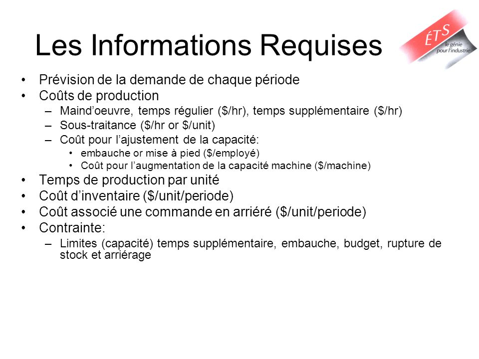 Les Informations Requises