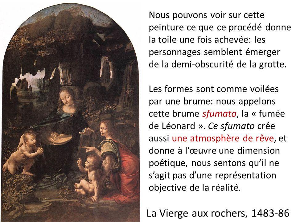 Nous pouvons voir sur cette peinture ce que ce procédé donne la toile une fois achevée: les personnages semblent émerger de la demi-obscurité de la grotte.