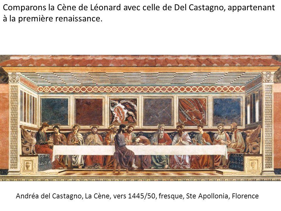 Comparons la Cène de Léonard avec celle de Del Castagno, appartenant à la première renaissance.