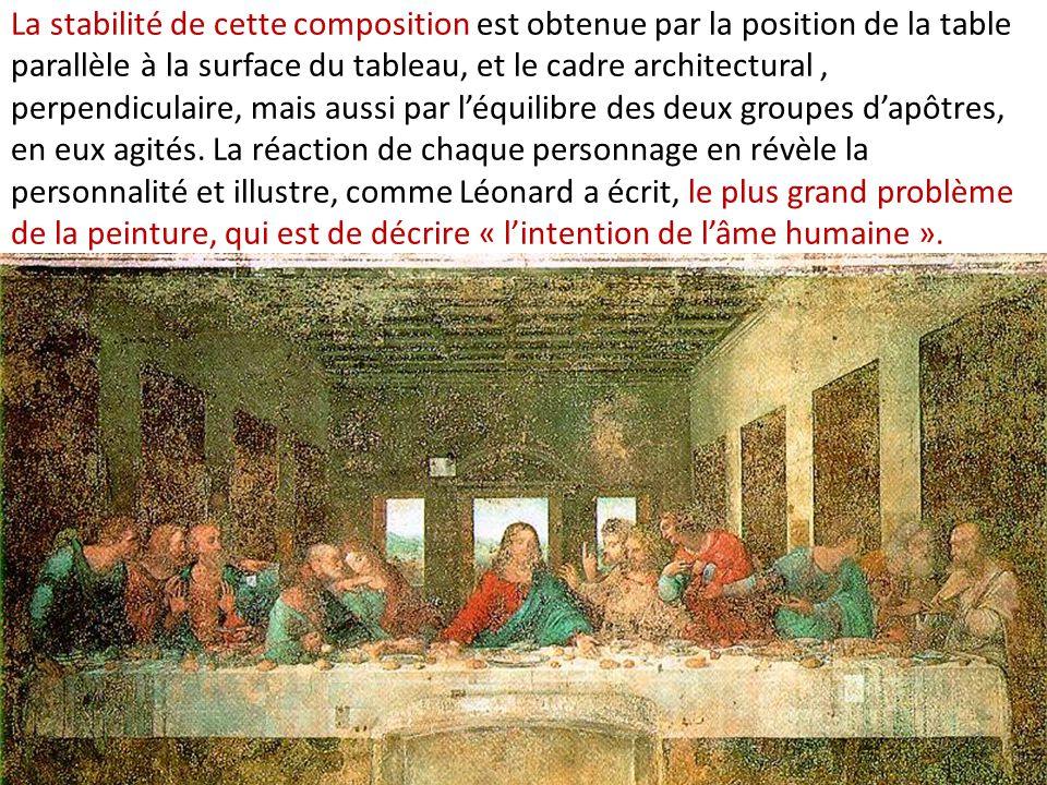 La stabilité de cette composition est obtenue par la position de la table parallèle à la surface du tableau, et le cadre architectural , perpendiculaire, mais aussi par l'équilibre des deux groupes d'apôtres, en eux agités.