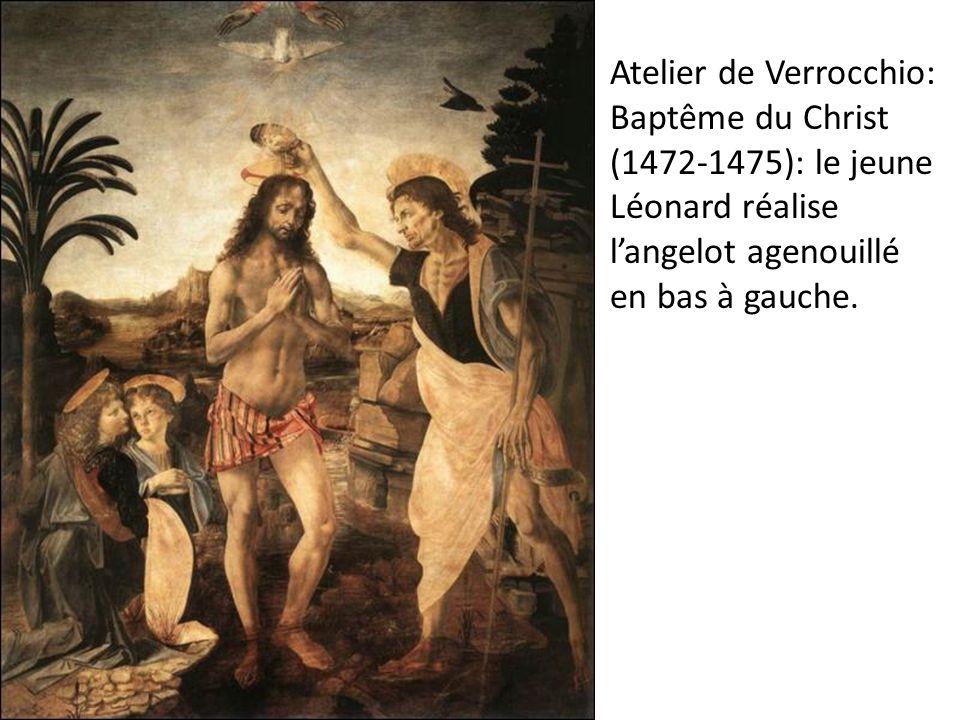 Atelier de Verrocchio: Baptême du Christ (1472-1475): le jeune Léonard réalise l'angelot agenouillé en bas à gauche.