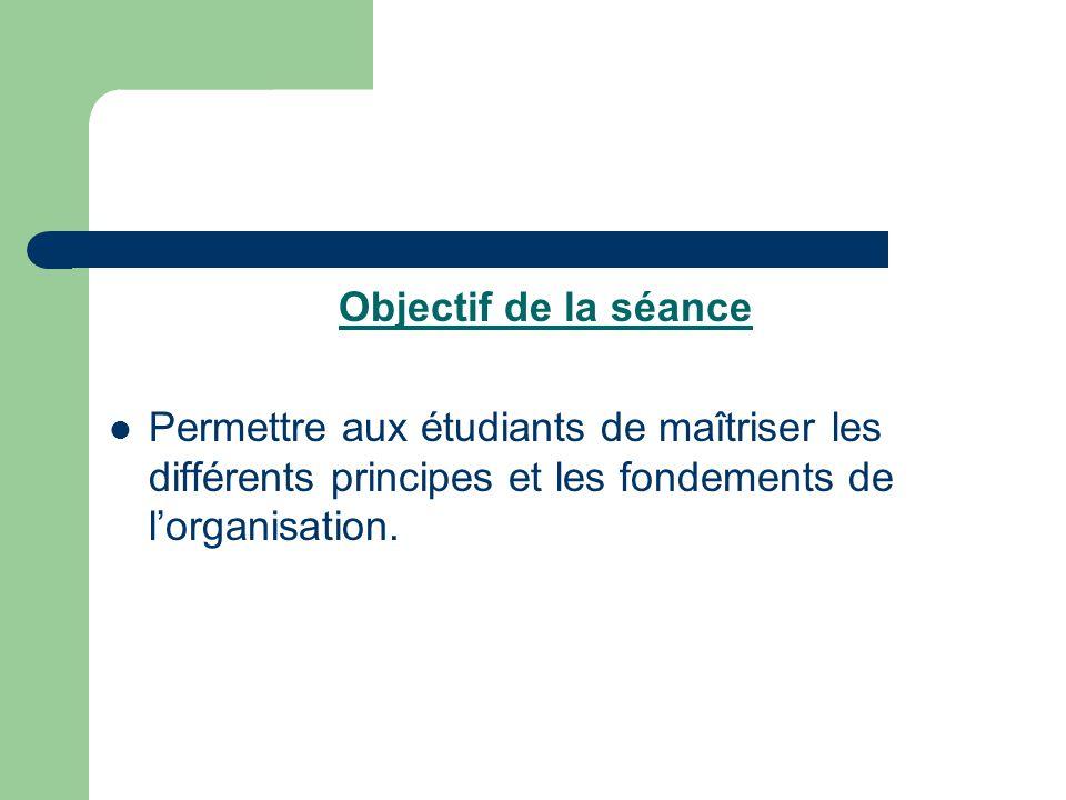Objectif de la séance Permettre aux étudiants de maîtriser les différents principes et les fondements de l'organisation.