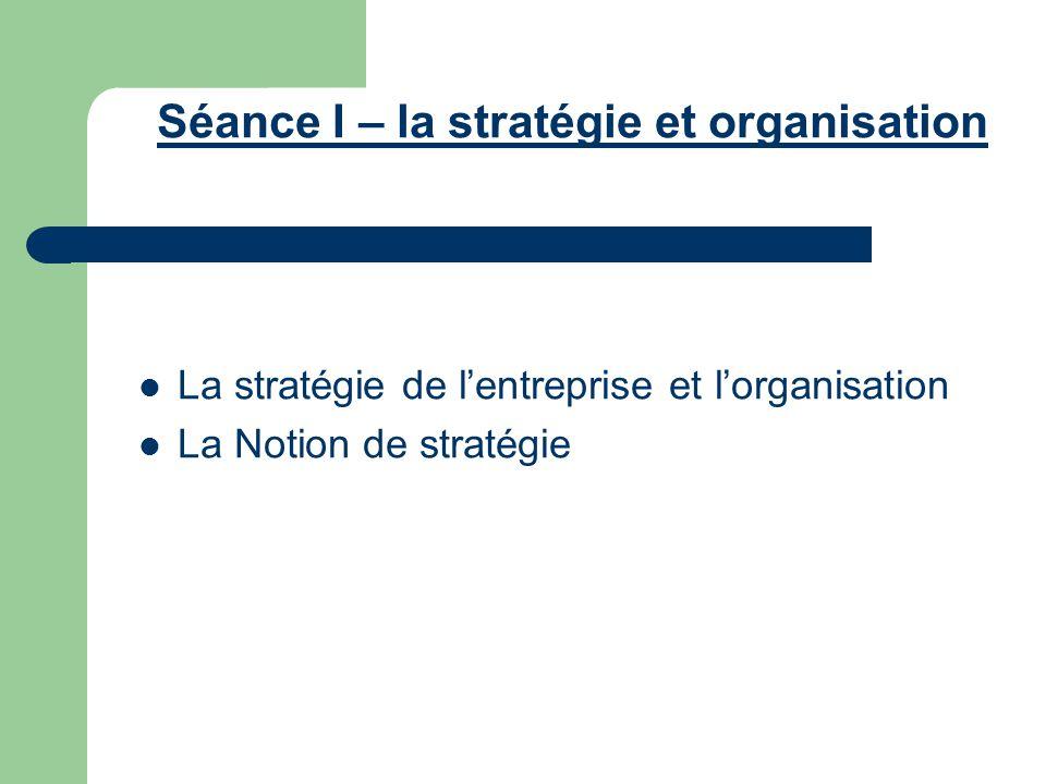 Séance I – la stratégie et organisation
