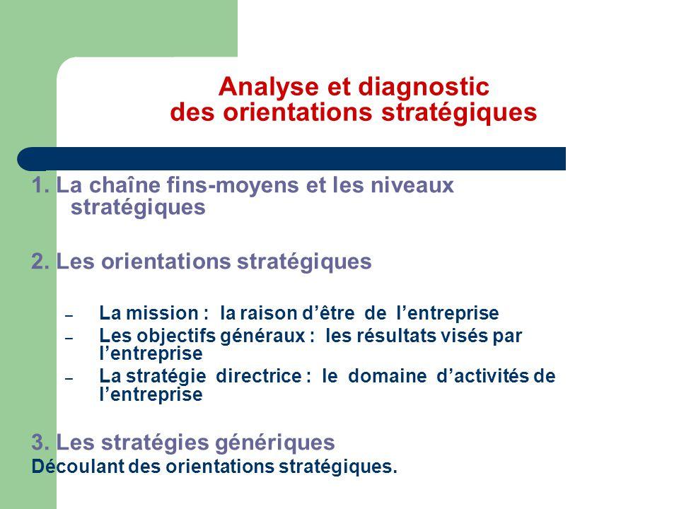 Analyse et diagnostic des orientations stratégiques