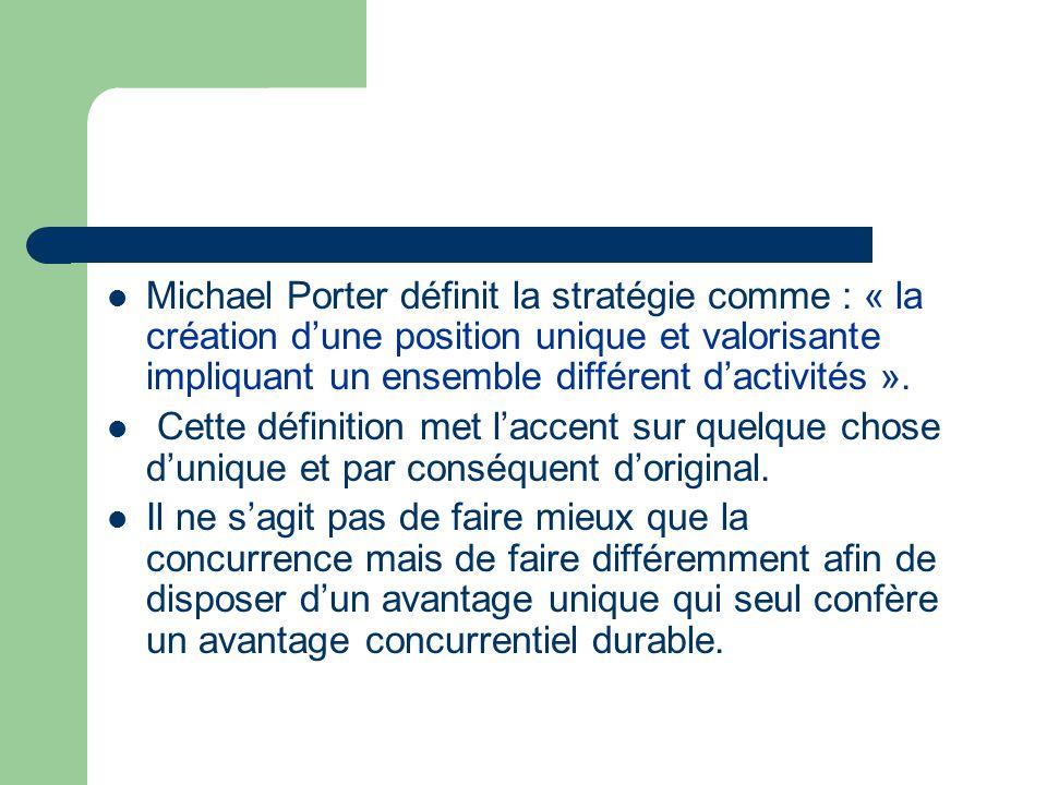 Michael Porter définit la stratégie comme : « la création d'une position unique et valorisante impliquant un ensemble différent d'activités ».