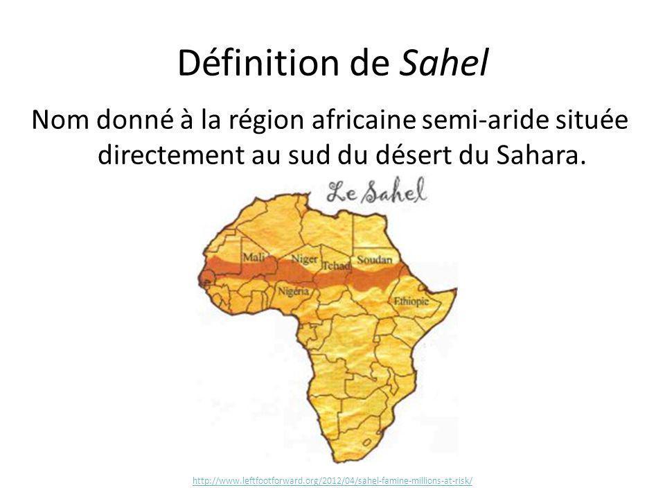Définition de Sahel Nom donné à la région africaine semi-aride située directement au sud du désert du Sahara.
