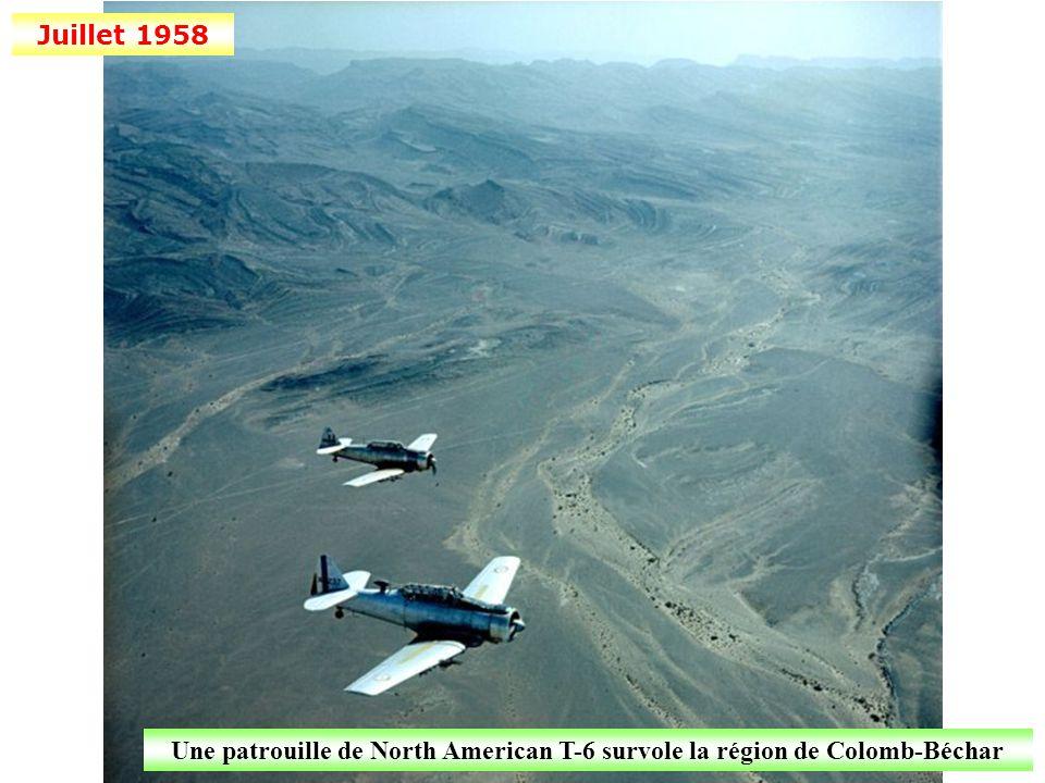 Juillet 1958 Une patrouille de North American T-6 survole la région de Colomb-Béchar