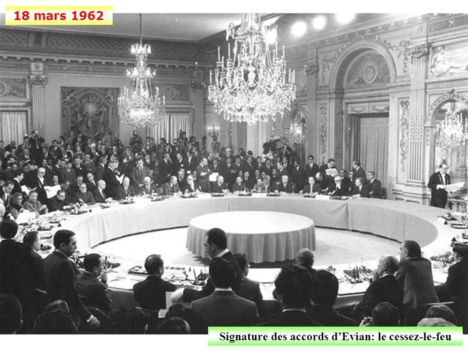 Signature des accords d'Evian: le cessez-le-feu