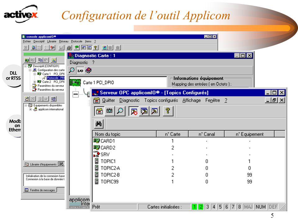 Configuration de l'outil Applicom