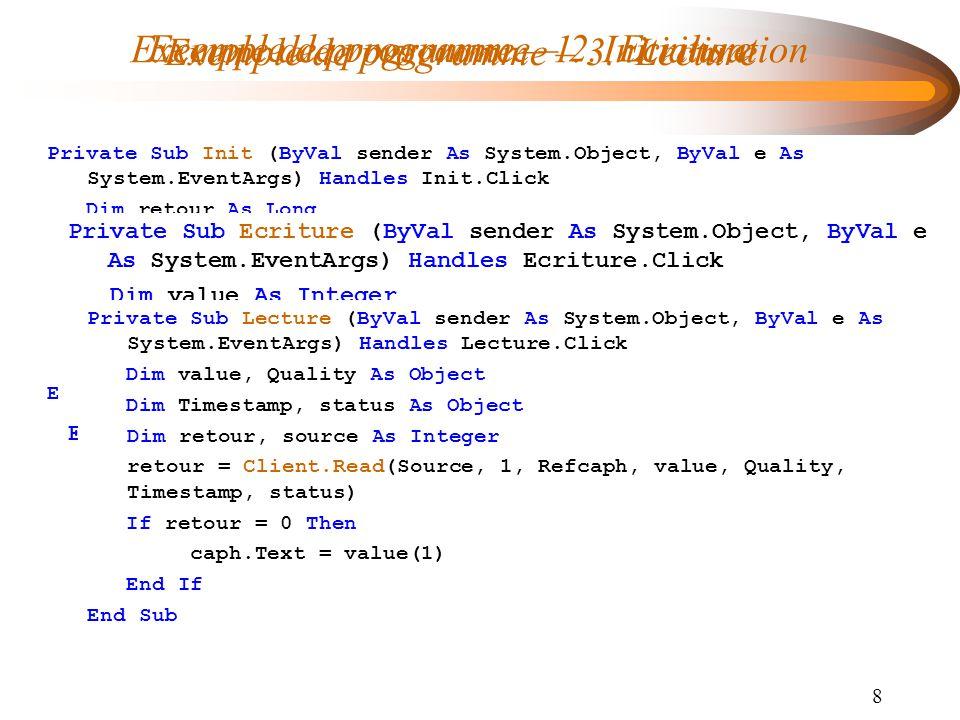 Exemple de programme – 1. Initialisation