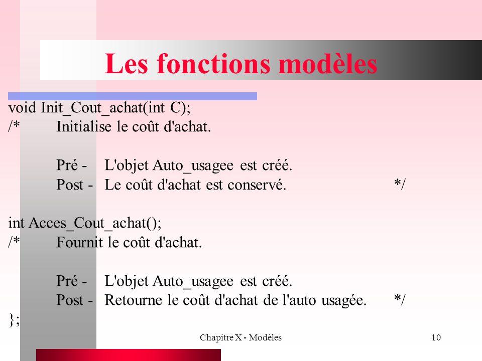 Les fonctions modèles void Init_Cout_achat(int C);