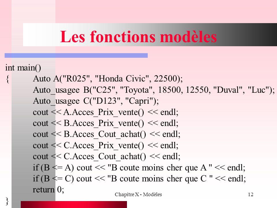 Les fonctions modèles int main()