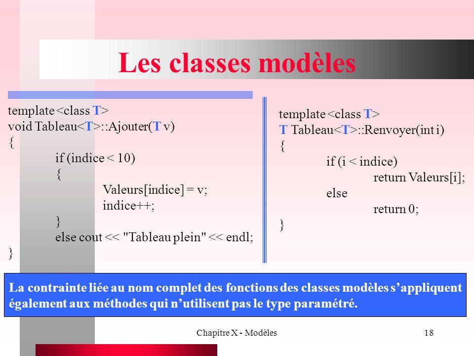 Les classes modèles template <class T> template <class T>