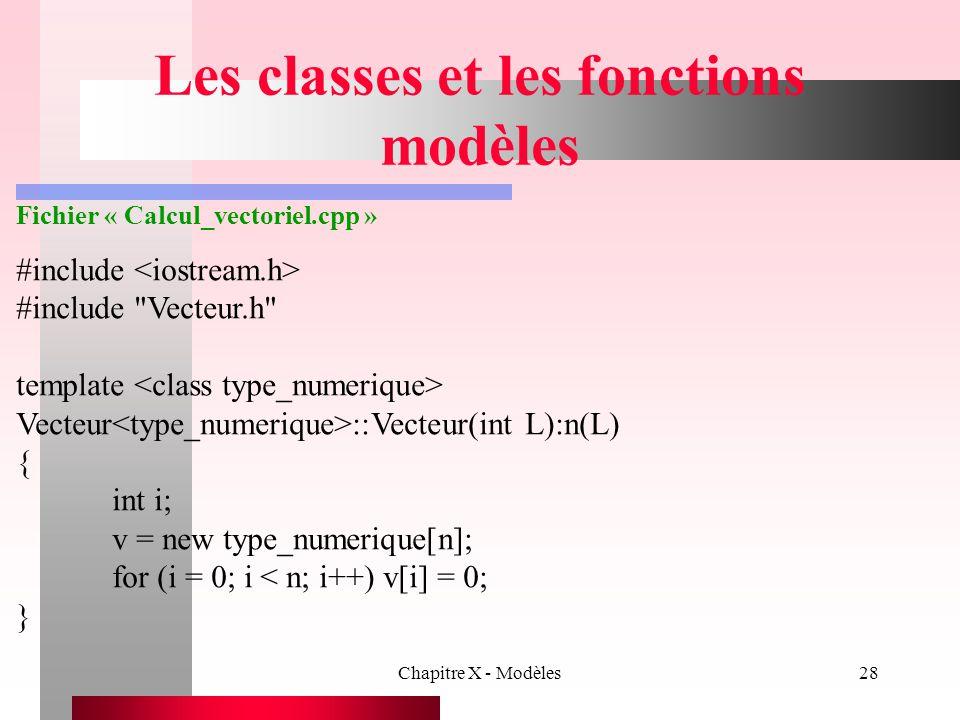 Les classes et les fonctions modèles