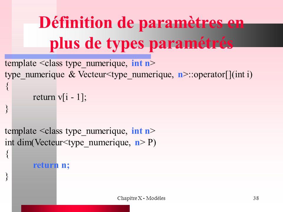 Définition de paramètres en plus de types paramétrés