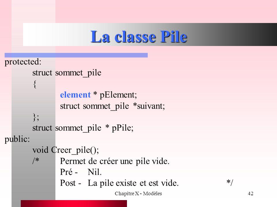 La classe Pile protected: struct sommet_pile { element * pElement;