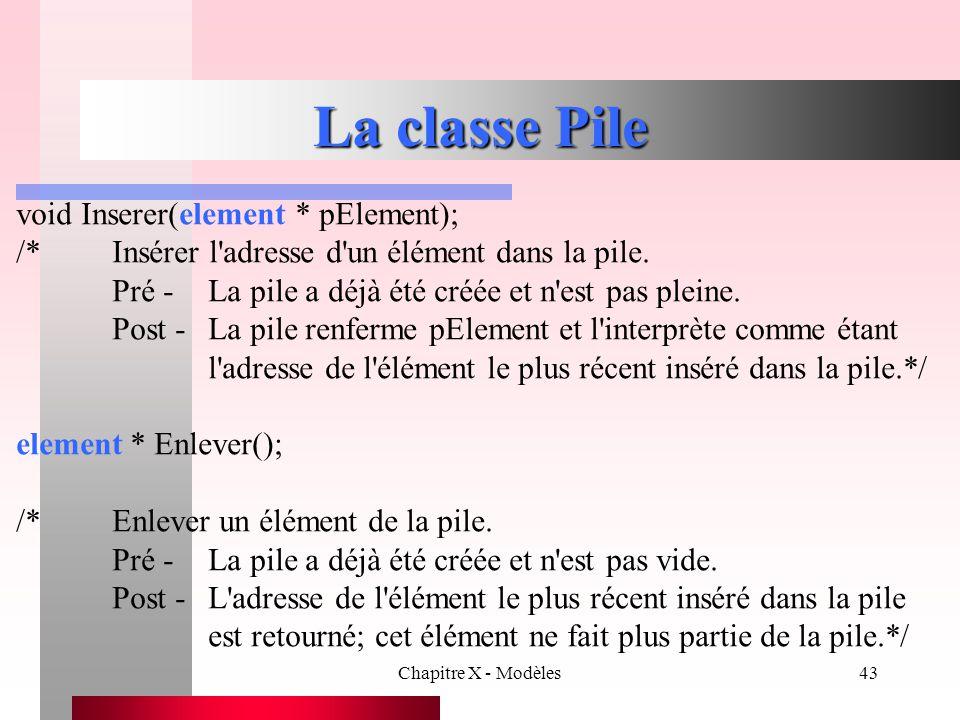La classe Pile void Inserer(element * pElement);
