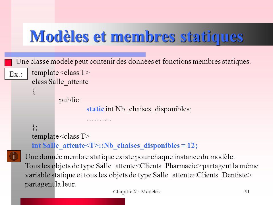 Modèles et membres statiques