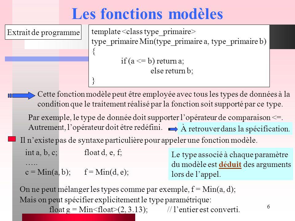 Les fonctions modèles Extrait de programme