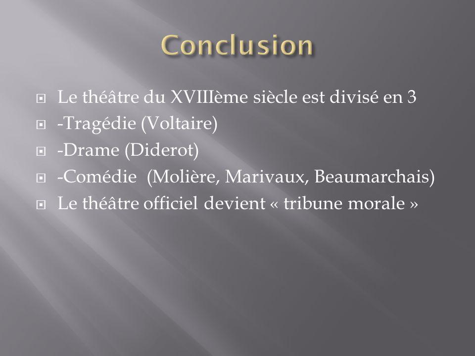 Conclusion Le théâtre du XVIIIème siècle est divisé en 3