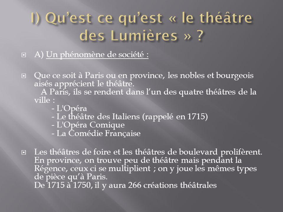 I) Qu'est ce qu'est « le théâtre des Lumières »