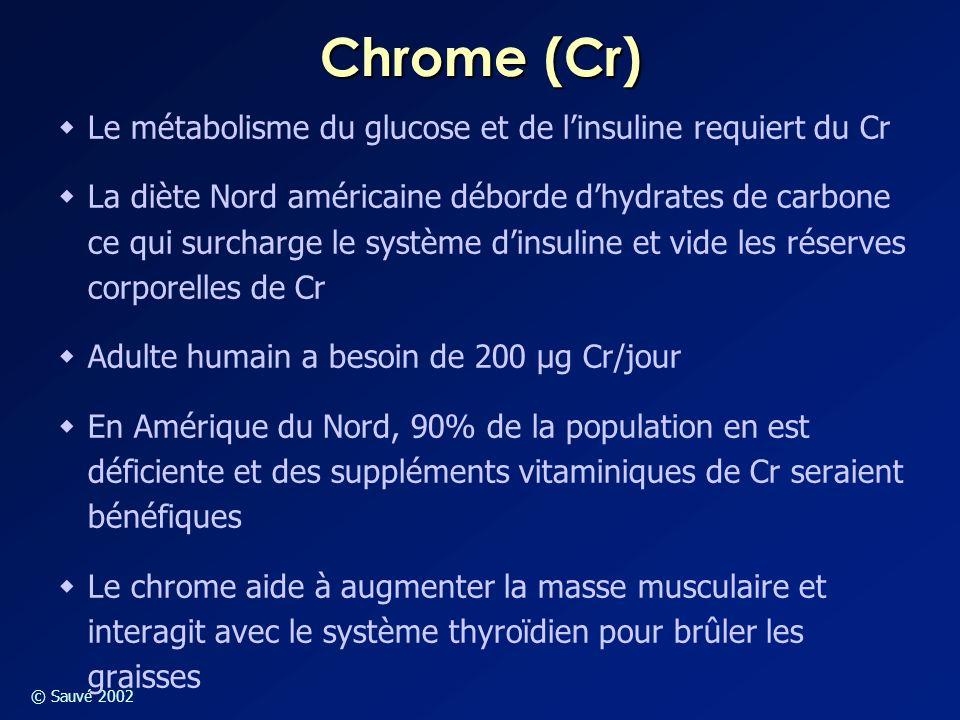 Chrome (Cr) Le métabolisme du glucose et de l'insuline requiert du Cr