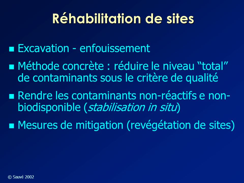 Réhabilitation de sites