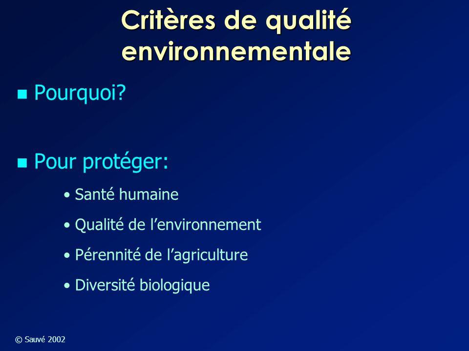 Critères de qualité environnementale
