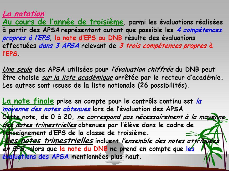 La notation Au cours de l'année de troisième, parmi les évaluations réalisées à partir des APSA représentant autant que possible les 4 compétences propres à l'EPS, la note d'EPS au DNB résulte des évaluations effectuées dans 3 APSA relevant de 3 trois compétences propres à l'EPS.