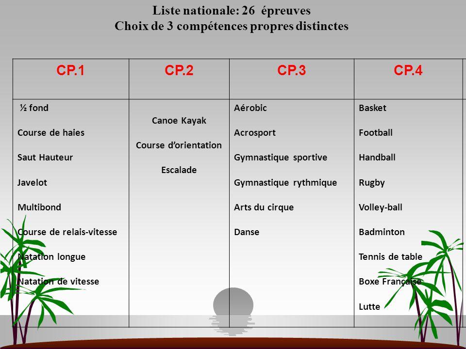 Liste nationale: 26 épreuves Choix de 3 compétences propres distinctes