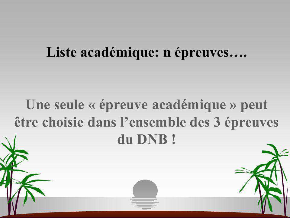 Liste académique: n épreuves…