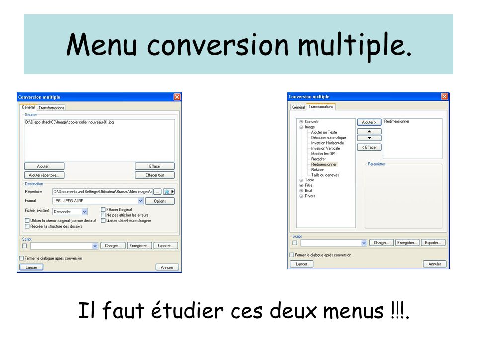 Menu conversion multiple.