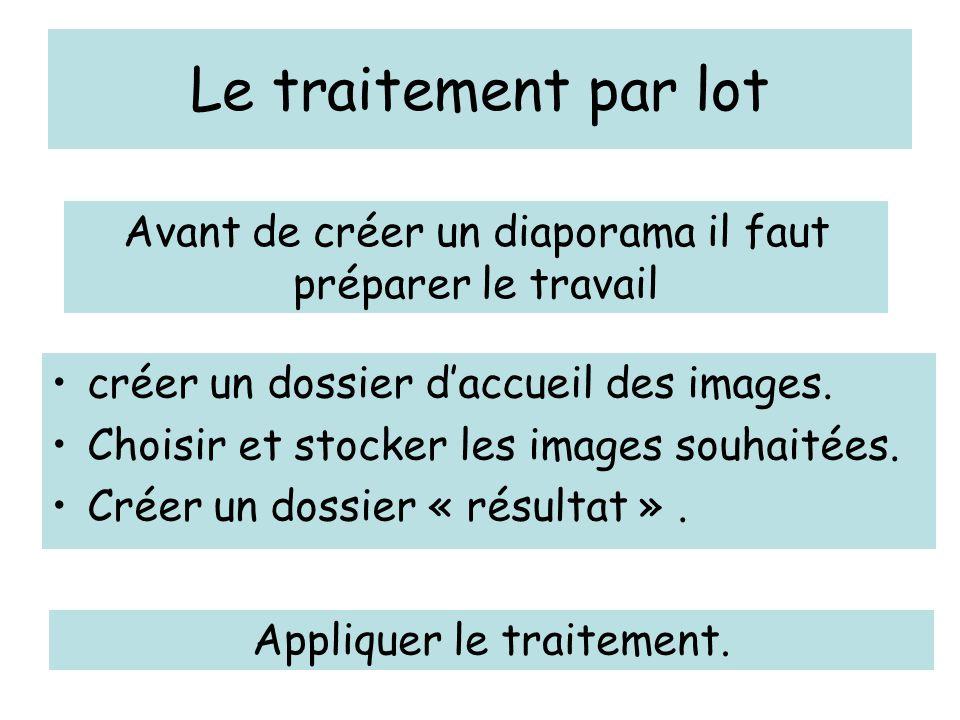 Le traitement par lot Avant de créer un diaporama il faut préparer le travail. créer un dossier d'accueil des images.
