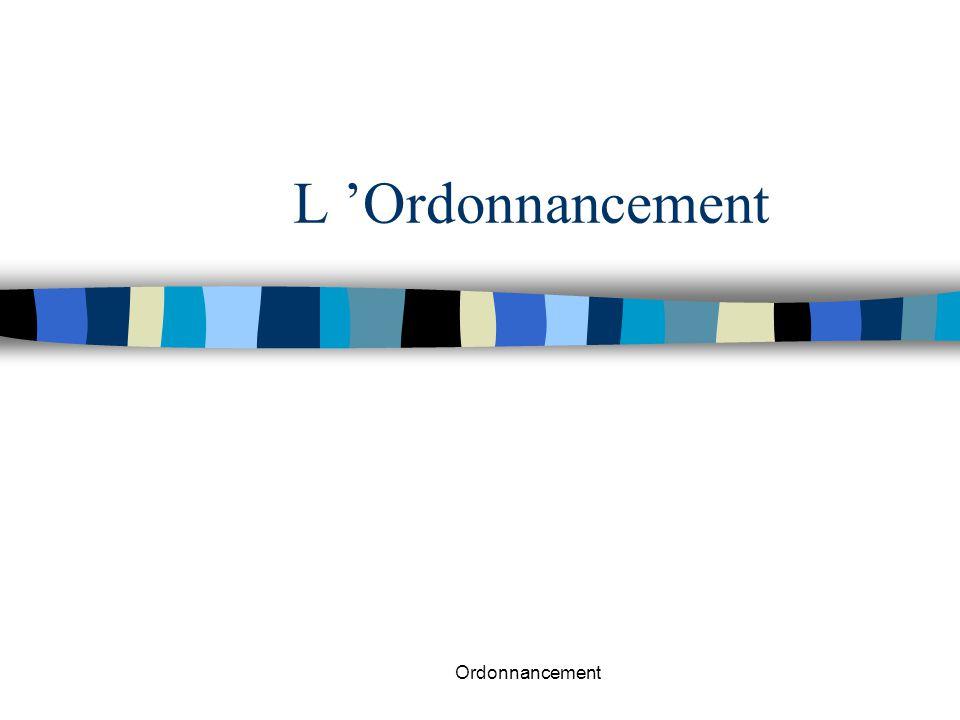 L 'Ordonnancement Ordonnancement