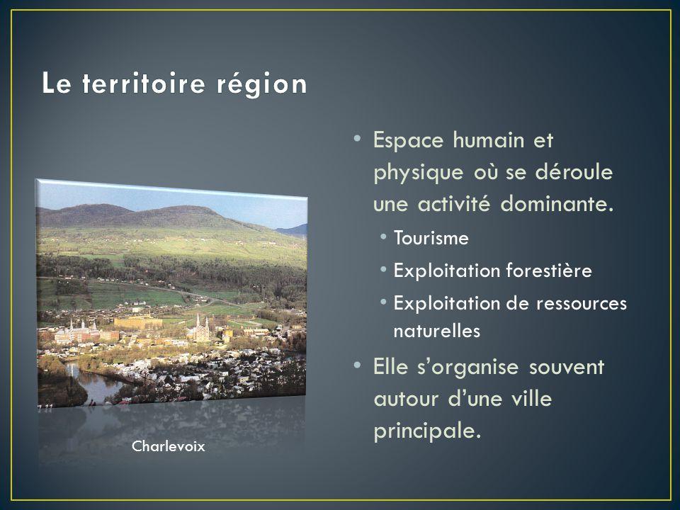 Le territoire région Espace humain et physique où se déroule une activité dominante. Tourisme. Exploitation forestière.