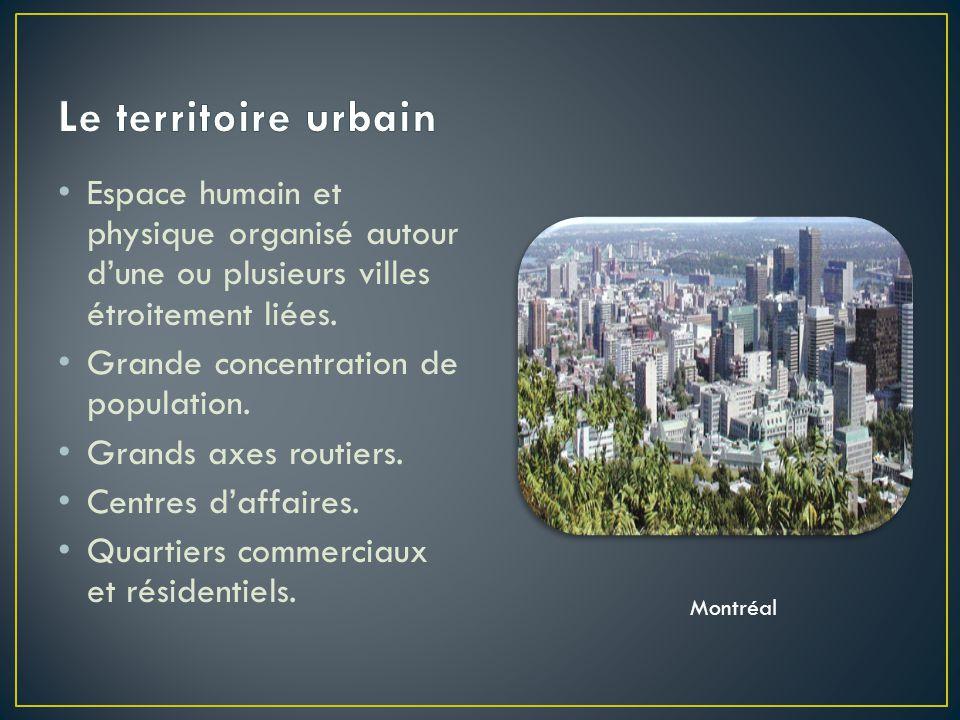 Le territoire urbain Espace humain et physique organisé autour d'une ou plusieurs villes étroitement liées.