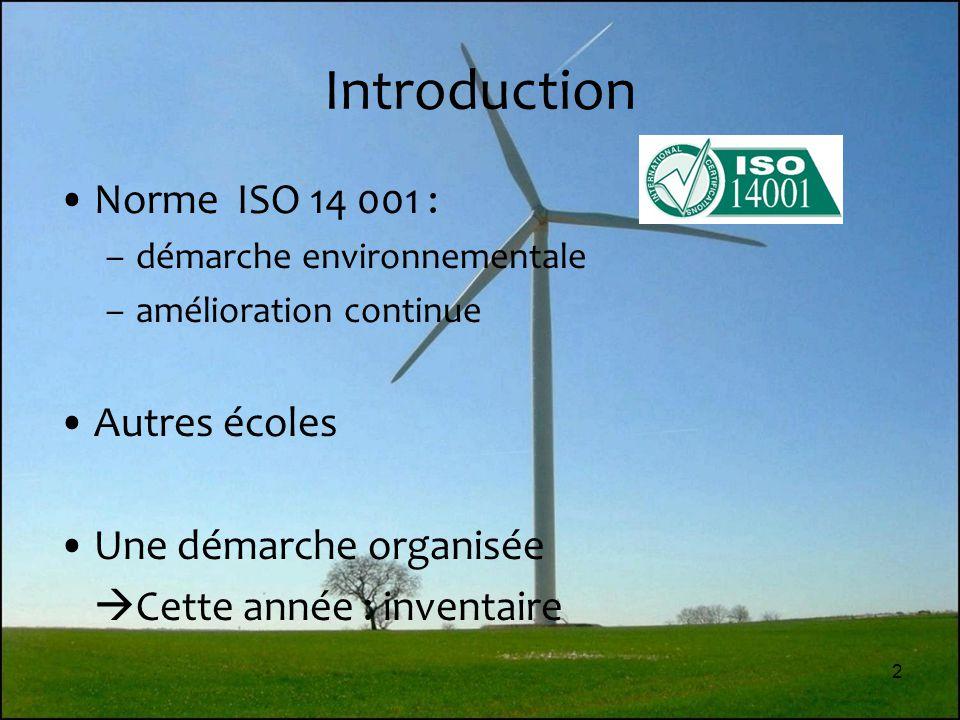 Introduction Norme ISO 14 001 : Autres écoles Une démarche organisée