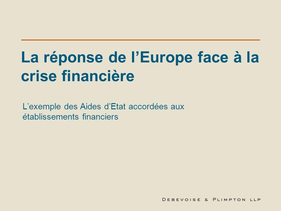 La réponse de l'Europe face à la crise financière