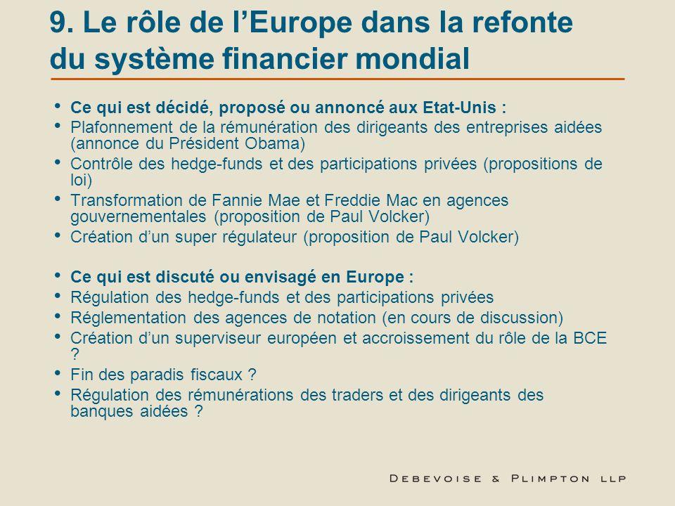 9. Le rôle de l'Europe dans la refonte du système financier mondial