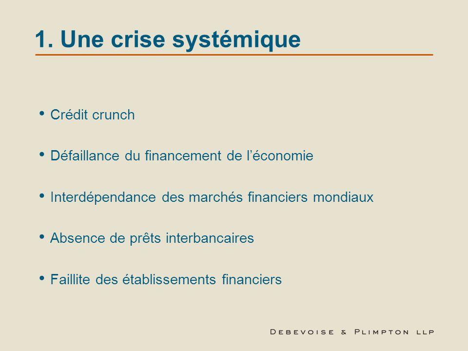 1. Une crise systémique Crédit crunch
