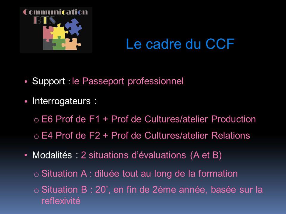 Le cadre du CCF Support : le Passeport professionnel Interrogateurs :