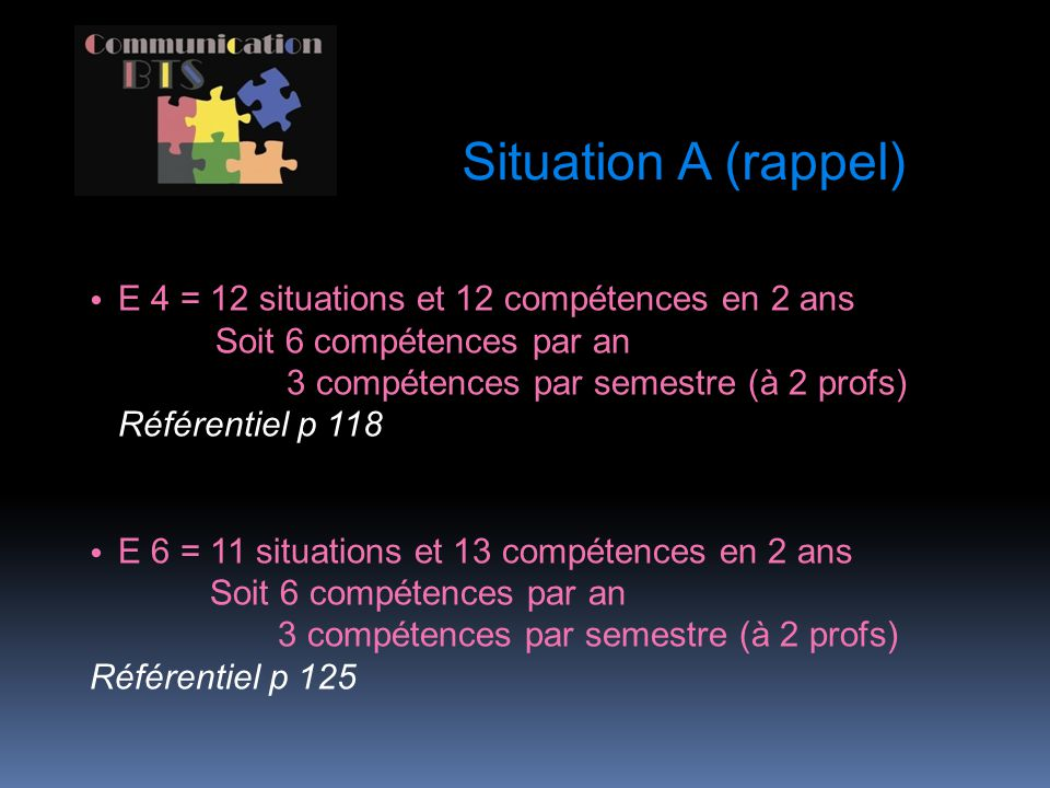 Situation A (rappel) E 4 = 12 situations et 12 compétences en 2 ans