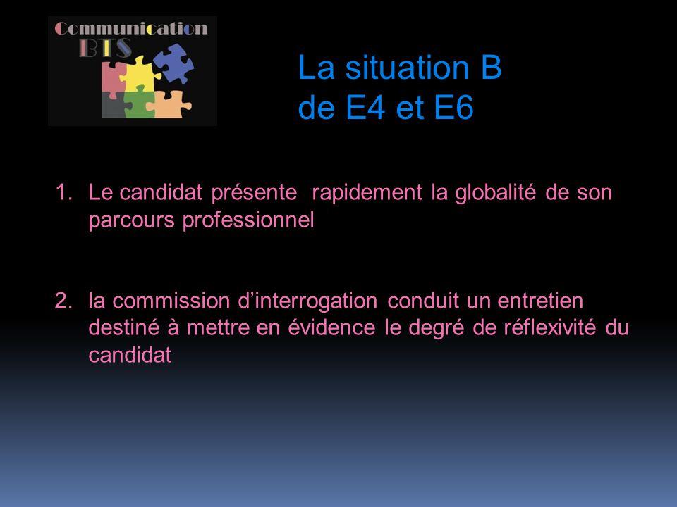 La situation B de E4 et E6 Le candidat présente rapidement la globalité de son parcours professionnel.