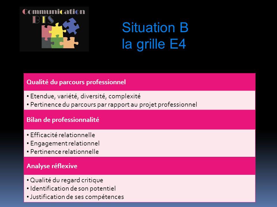 Situation B la grille E4 Qualité du parcours professionnel