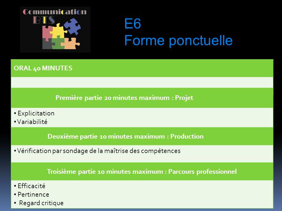 E6 Forme ponctuelle ORAL 40 MINUTES