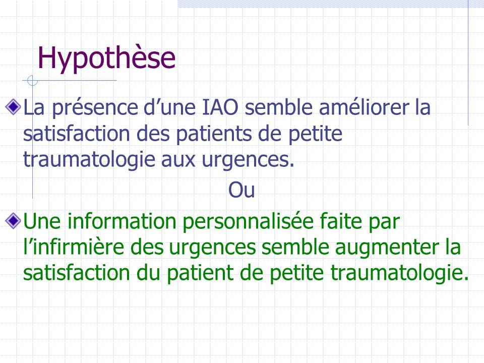 Hypothèse La présence d'une IAO semble améliorer la satisfaction des patients de petite traumatologie aux urgences.
